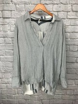 Free People Vertical White Blue Stripes Soft Flowy Oversized Tunic Size S $98+ - $34.29