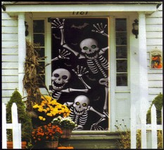 Scary Skeleton Silhouette Door Cover Mural Halloween Decoration - $6.88