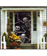 Scary Skeleton Silhouette Door Cover Mural Halloween Wall Decoration - $4.67