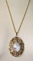 Gray Purple Red Agate Oval Stone Flower Gold Tone Necklace Pendant Vintage - $19.79