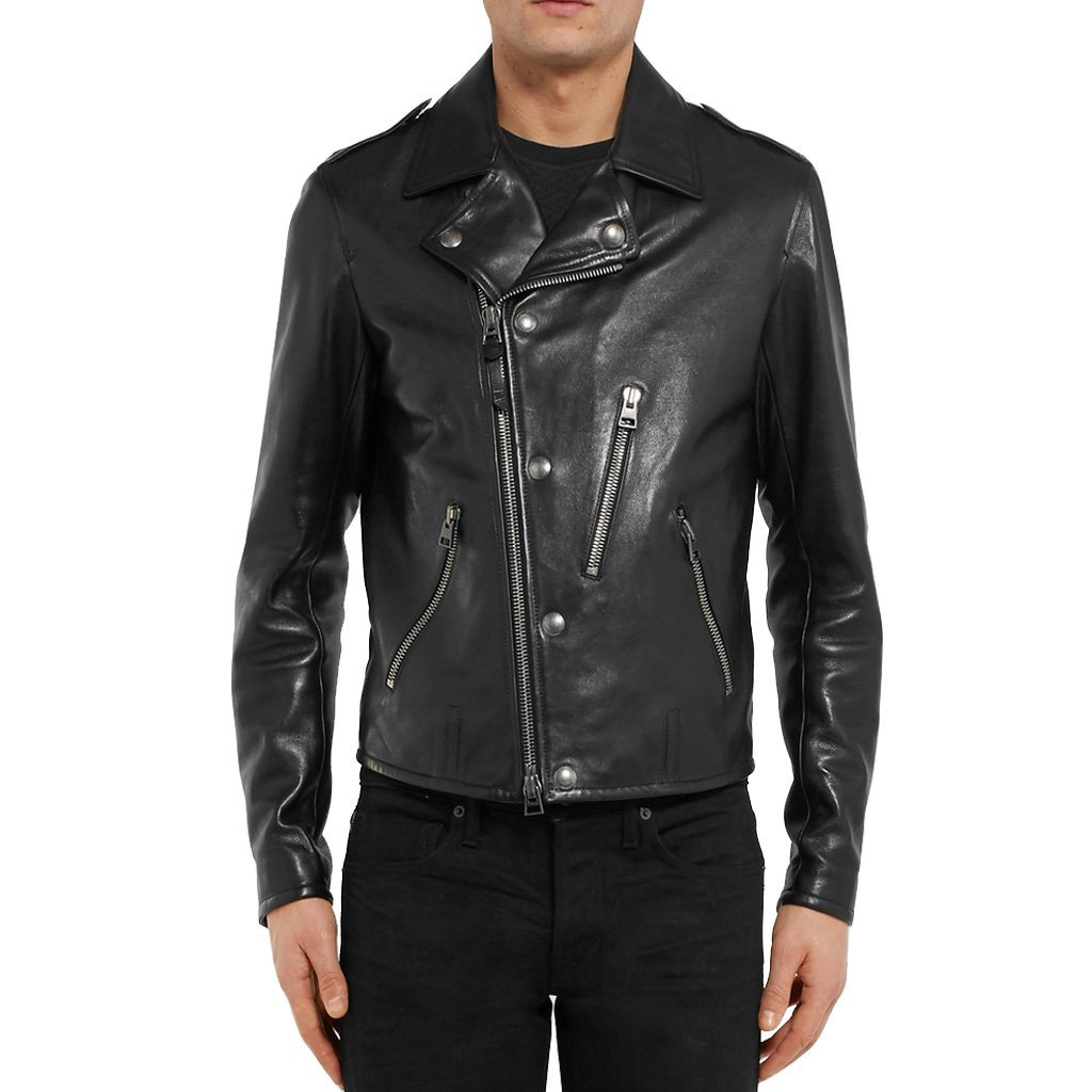 NOTCH COLLAR WITH BUTTON MEN MOTORCYCLE LEATHER JACKET