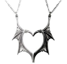 Darkling Heart Two Dragon Wings Halves of a Heart Necklaces Alchemy Gothic P851 - $32.95