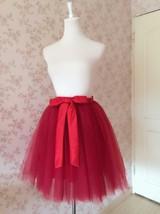 DARK RED Knee Length Elastic Waist A Line Tulle Skirt Bridesmaid Tulle Skirt NWT image 3