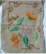 Antique Arts and Crafts Silk Embroidery Linen Pillow Sham Case Flowers Mum 18x20 - $91.14 CAD