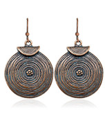 Fashion Antique Flower Ethnic Round Dangle Earrings For Women Bijoux - $7.99