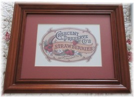 Vintage Style Crescent Preserve Co Strawberries Strawberry Matted Framed... - $23.22