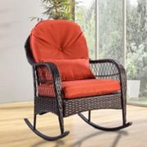 Outdoor Rocking Chair with Cushion Porch Deck Wicker Patio Furniture Ver... - $132.95