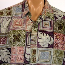 Cooke Street Honolulu Hawaiian Shirt Mens XL RP Tapa Monstera Geometric - $20.56