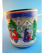Vintage Lefton Christmas Mug Cup coffee tea cocoa Victorian Village Scen... - $11.87