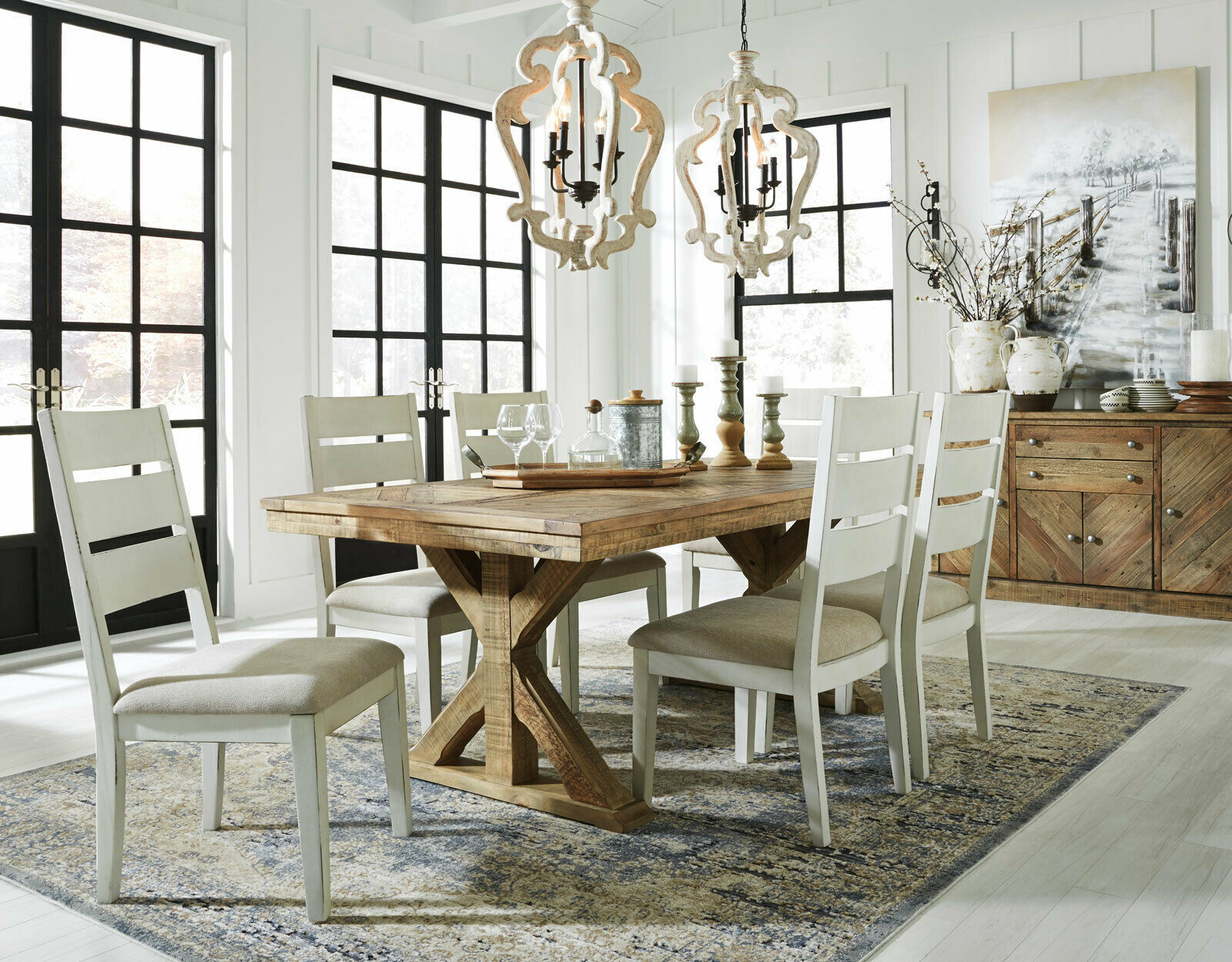 dining room design ideas white chair and brown square table | Cottage Design Dining Room 7pcs Rectangular Brown Table ...