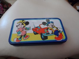 Vintage Disney Mickey and Minnie Mouse blue pencil tin from the Tin Box ... - $15.00