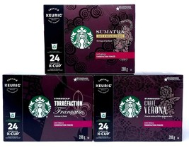 STARBUCKS BLACK COFFEE KCUP VARIETY PACK FOR KEURIG (3 BOXES OF 24 PODS ... - $58.89