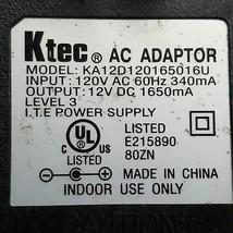 Ktec KA12D120165016U AC Power Supply Adapter Cord 12VDC 1650mA - $22.30