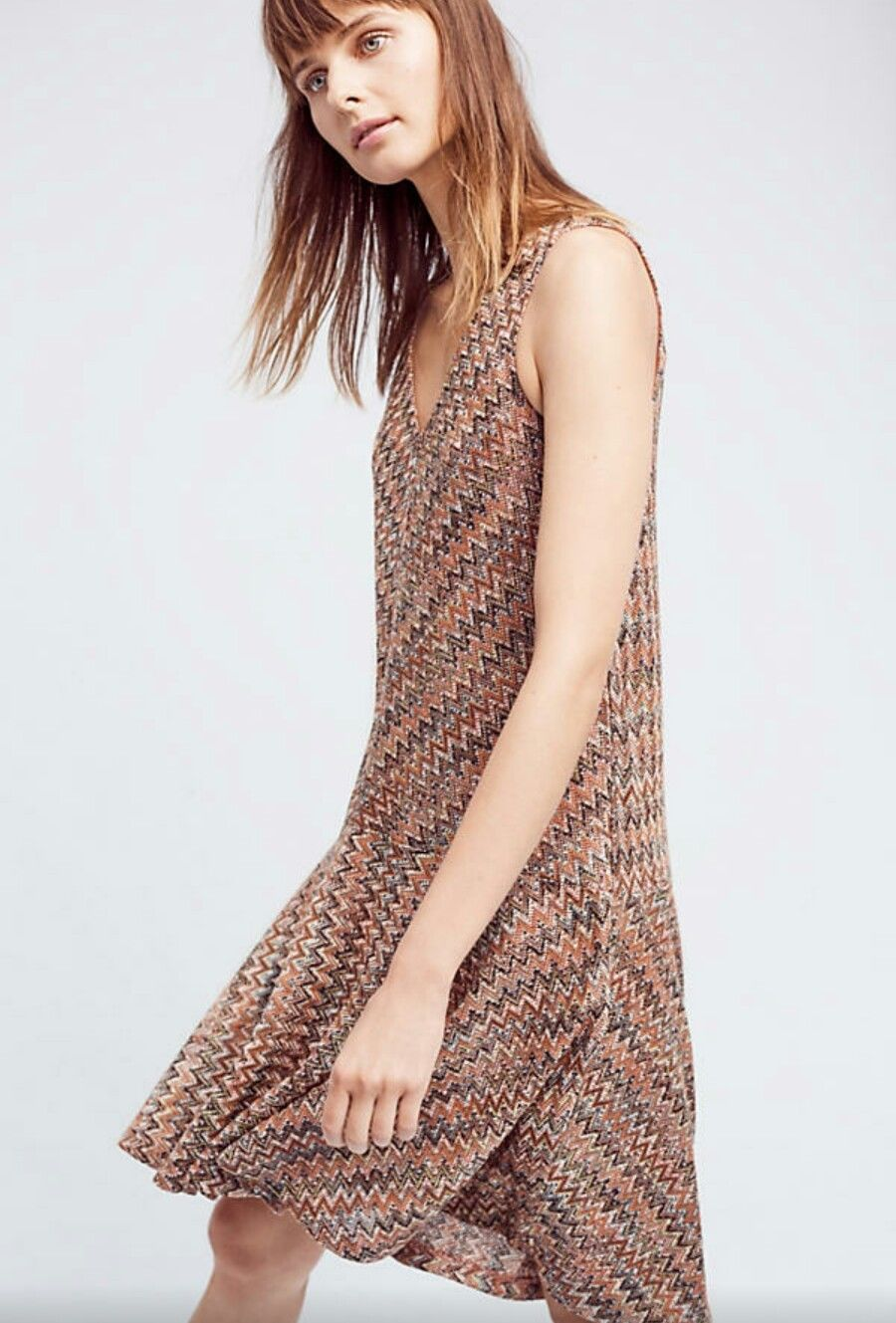 NWT $138 ANTHROPOLOGIE WESTWATER KNIT DRESS BY MAEVE COMFY A-LINE Brown Motif