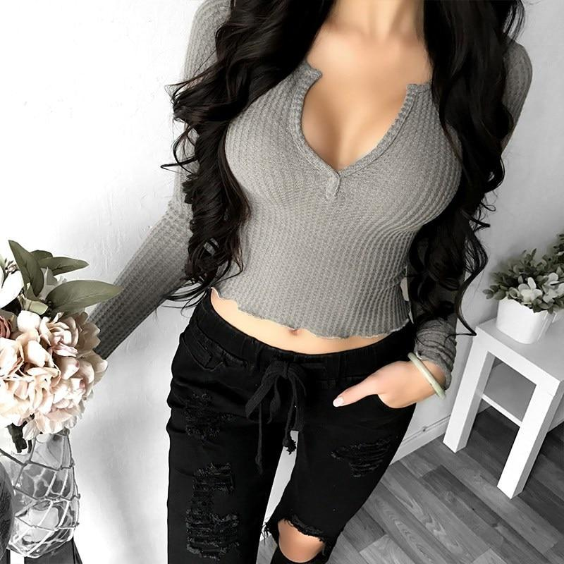 2018 Spring Sexy Women Deep V Neck Long Sleeve Slim Fit Crop Tops Casual Party C