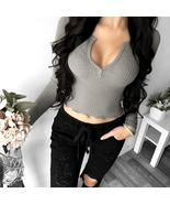2018 Spring Sexy Women Deep V Neck Long Sleeve Slim Fit Crop Tops Casual... - $27.66