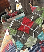THIRTY ONE LITTLES Carry-All Caddy Mini Canvas Tote Bag Basket Windsor A... - $5.89