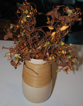 Ceramic Wicker Vase & 2 Autumn Fall Beaded Leaf Florals Thanksgiving Hom... - €13,07 EUR