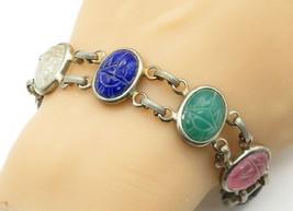 925 Sterling Silver - Vintage Multi-Stone Carved Scarab Chain Bracelet -... - $75.55