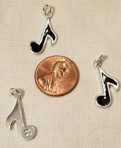 BLACK ENAMEL MUSIC NOTE  STAMPED .925 Solid Sterling Silver Charm Musical image 2