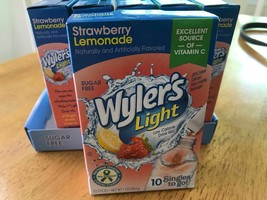 10 Boxes Wyler's Strawberry Lemonade singles Packets 10 ct Drink Mix! - $25.97