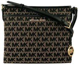 Michael Kors Messenger Cross Body Bag Beige Black Logo Monogram Canvas B... - $238.96