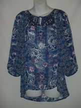 SMALL S FIG AND FLOWER BLUE LACE SHEER FLORAL BLOUSE  - $27.90