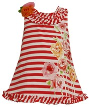 Bonnie Jean Little Girl 2T-4T Striped Knit Sequin Rose Screen Print A-line Dress