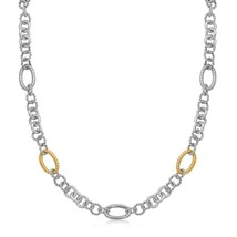 18k Yellow Gold and Sterling Silver Rhodium Plated Multi Design Chain Necklace - $857.19