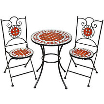 Bistro Mosaic Balcony Table Set Garden Patio Furniture Table & 2 Chairs ... - $211.19