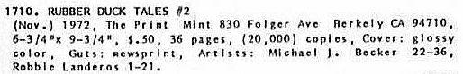 Rubber Duck #2, Print Mint 1972, vintage underground comix