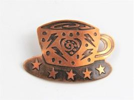 ESTATE VINTAGE Jewelry FUNKY COPPER COFFEE CUP BROOCH - $8.00
