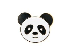 Panda gold plated enamel pin badge brooch quirky retro kitsch fun gift idea - $9.92