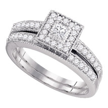 10k White Gold Princess Diamond Bridal Wedding Engagement Ring Band Set 1/2 Ctw - £571.47 GBP
