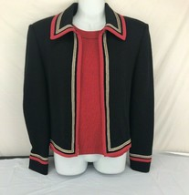 2 pc St John Collection sz 8 marie gray red black blazer shell - $791.01