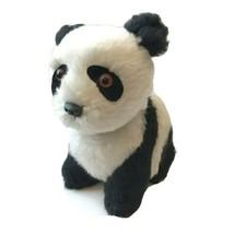 vintage Panda Teddy Bear Stuffed Animal Plush Toy Orange Glass Eyes Japa... - $29.65