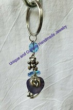 Baby girl or boy quartz mother of pearl glass metal handmade keyrings - $6.00