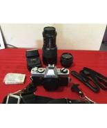 Minolta XG-A Film Camera Outfit Includes Lenses, Flash, Caps Neckstrap Bag - $100.00