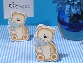 Cute And Cuddly Blue Teddy Place Card Holder [SET OF 24] - $23.82