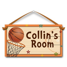 "Basketball Door Sign, 5.5"" x 10.5"", Kids Personalized Name Plaque  - $13.00"