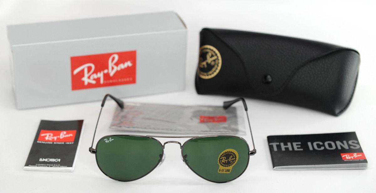 1a213359c4 57. 57. Previous. Ray-Ban Sunglasses RB3025 Aviator W3236 Gunmetal Frame  G15 Green Lenses