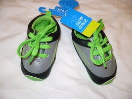 Boys Okie Dokie Slip On Lace Up Shoes Baby Size 3-6 Months NEW Green Gra... - $10.88