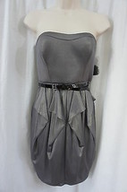 Jessica Simpson Dress Sz 2 Charcoal Gold Strapless Cocktail Party Dinner Dress  - $63.82