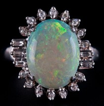 Vintage 1950's 14k White Gold Oval Cut Opal & Diamond Cocktail Ring 5.63... - $2,920.00
