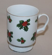 Lefton Holly Footed Mug Christmas Pedestal Coffee Cup Hand Painted Red Berries - $9.11