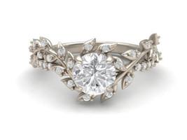 Certified 2.15Ct Round White Diamond Nature Leaf Engagement Ring 14K Whi... - $255.17