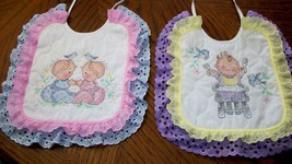 "Bibs Handcrafted XStitched - Decorated & Backed ""PRECIOUS BABIES"" - $39.99"