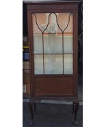 Antique Tall and Narrow Mahogany China Display Cabinet - Queen Anne - BE... - $559.34