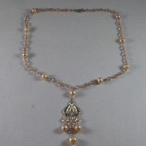 .925 SILVER RHODIUM NECKLACE WITH PINK CRISTALS AND FRESHWATER PINK PEARLS image 2