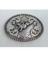NOCONA BULL RIDER Belt Buckle Western Metal Silvertone - $24.99